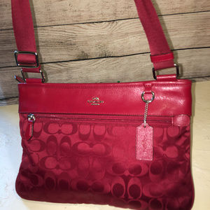 COACH Rare Currant Red Nylon SPENCER Cross Body